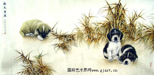 老鼠松树工笔画