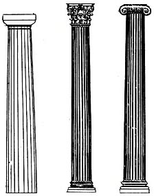 多立克柱式:柱子比例粗壮,高度约为底径的4~6倍.图片
