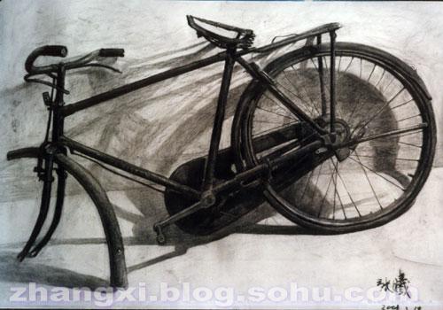 """2001年3月的""""自行车""""静物素描习作(全开,素描纸,木炭条"""
