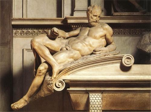 """意大利诗人乔凡尼,对米开朗琪罗的雕塑""""昼夜晨昏""""中""""夜""""的赞美"""