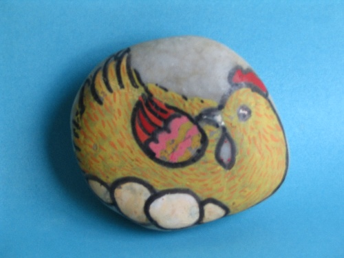 可爱的动物卵石画