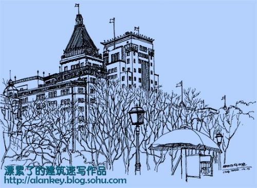 上海外灘風景鋼筆速寫