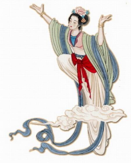 古风舞女手绘图