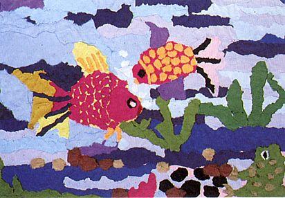 幼儿园棉花粘贴画动物