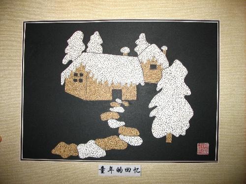 我用了两个星期的时间完成了这幅蛋壳贴画.起名叫《童年的回忆》.图片
